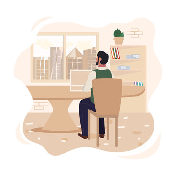 Cartoon Businessman Character Sitting at Desk front of Window in Office. Male Manager or Developer Work on Laptop Making Financial Change and Report. Back View. Vector Flat Cutout Illustration