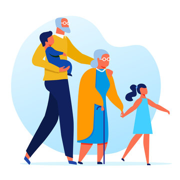 Seniors with Grandkids Flat Vector Illustration. Grandparents and Grandchildren Cartoon Characters. Elderly Couple with Little Children on Walk. Old Man Holding Toddler. Happy Family Recreation