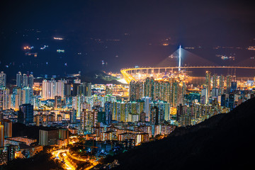 Wall Mural - Amazing Hong Kong Night View, Kowloon district, shooting from lion rock peak. Asia