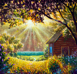 Photo sur Aluminium Marron Sunny oil painting summer warm rural landscape with sunbeams syn rays modern fine art nature, flowering bushes and a cozy wooden village house illustration.