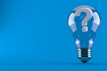 Question mark inside light bulb