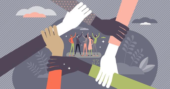 Teamwork concept, flat tiny persons vector illustration
