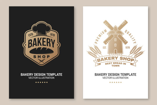 Set of Bakery shop badge. Vector. Concept for poster, flyer, bakery template. Design with windmill, rolling pin, dough, wheat ears silhouette. For frames, packaging