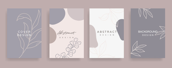 Fotobehang - Floral line arts and organic shape cover design template for social media stories, post, sale banner, poster, cover design, Minimal and natural earth tone  color theme wedding invitation cards.
