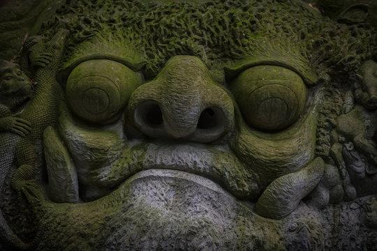 Sculpture in Ubud Monkey Forest, Bali.