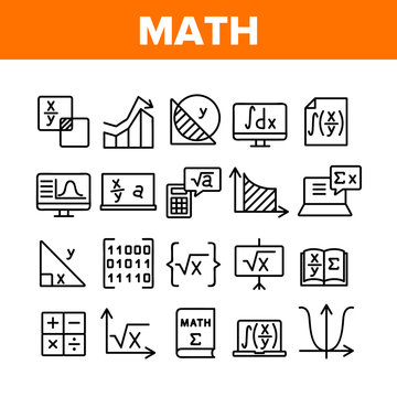 Math Science Education Collection Icons Set Vector. Math Formula And Function, Geometry Figure And Binary Code, Calculator And Book Concept Linear Pictograms. Monochrome Contour Illustrations
