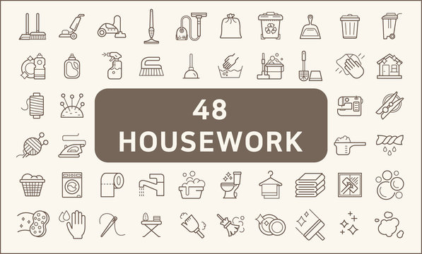 Set of 48 housework and cleaning icons line style.  Contains such Icons as household chores, skein, broom, vacuum, wastebasket, Trash Can, liquid soap, cleaning tool and other elements.