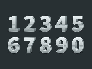 Silver 3d numbers. Realistic shiny metallic number symbols with shadows, creative chrome digits, credit cards font, typographic vector set Wall mural