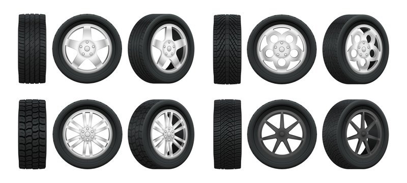 Realistic tires. 3d auto tyres and alloy rims, car wheels with different tread patterns from side and front views, auto service vector set