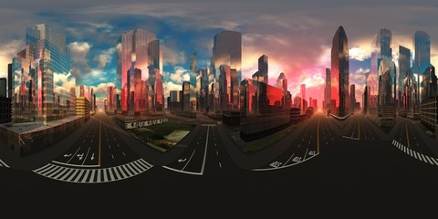 Wall Mural - cityscape, HDRI, environment map , Round panorama, spherical panorama, equidistant projection, panorama 360, 3d rendering