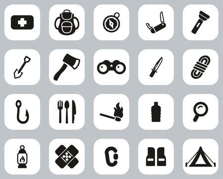 Survival Kit Icons Black & White Flat Design Set Big