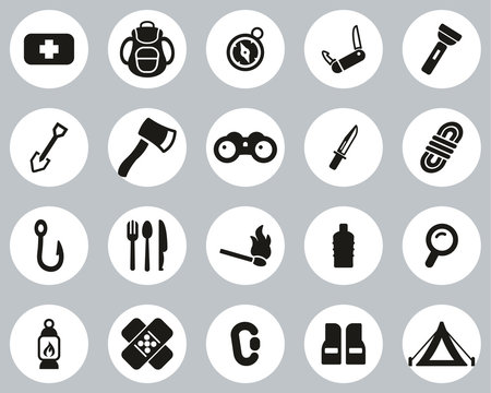 Survival Kit Icons Black & White Flat Design Circle Set Big