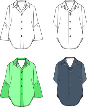 2 Fashion technical sketches women shirt with vector.