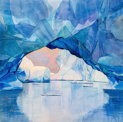 Antarctic ice arch through which blocks of white ice are visible, landscape about the Antarctic, watercolor handwork
