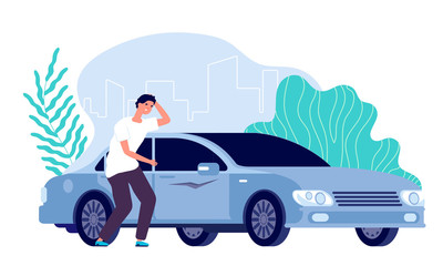 Scratched car. Man worried, auto needs repair. Disappointed businessman and vehicle, cartoon worry guy and spoiled transport vector concept. Car scratch vehicle, automobile car illustration