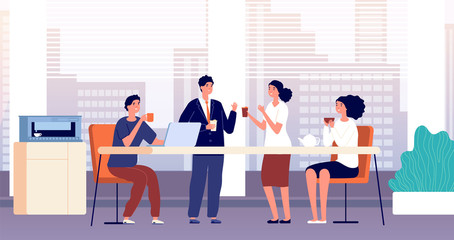 Office coffee break. Business lunch, managers in cafeteria or kitchen room. Friends meeting, people drinking and talking vector illustration. Office lunch break, business coffee drink