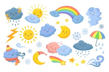Cute weather. Isolated rainbow, cartoon rain and hurricane. Funny and angry clouds, happy sun and tornado. Emotional nature vector icons. Meteorology weather icons, rainbow and snow illustration