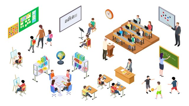 Isometric school. 3d college, teachers board and students. University elements, lecture room and furniture, tables and chairs. Education vector set. Education college, board and furniture illustration