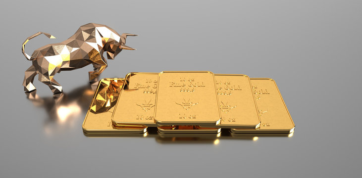 Rising gold prices on the stock market. 3d illustration.