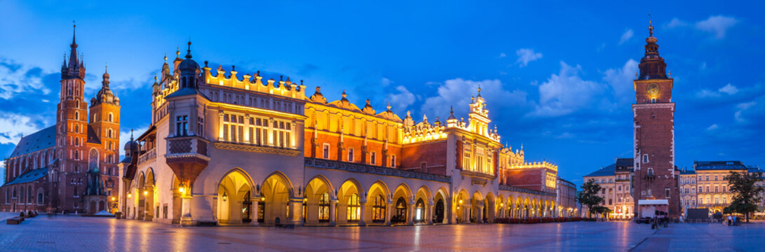 view of the beautiful Krakow old town in the evening