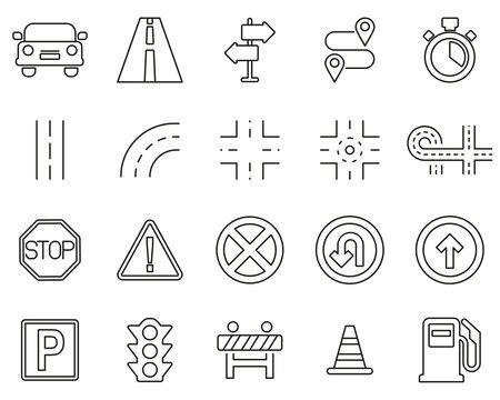 Traffic Icons Black & White Thin Line Set Big