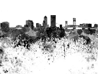 Fotomurales - Jacksonville skyline in black watercolor