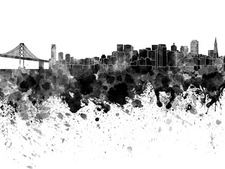Wall Mural - San Francisco skyline in watercolor on white background