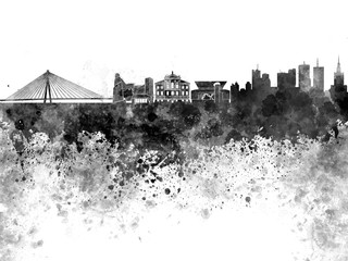 Fotomurales - Warsaw skyline in black watercolor on white background
