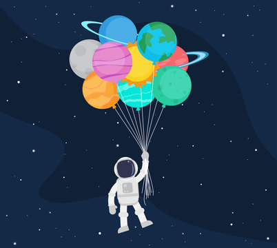 Cute astronaut cartoon floating with balloon planet in space background - Vector illustration