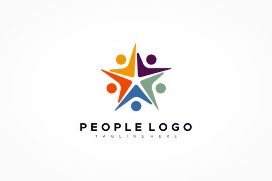 Colorful Five Star Icon Abstract People Logo isolated one white background. Flat Vector Logo Design Template Element.