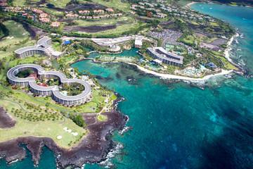 Photo sur Plexiglas Olive Aerial view of the luxury resort Hilton Waikoloa Village on the west coast of Big Island, Hawaii, USA.