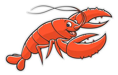 Cartoon cheerful lobster
