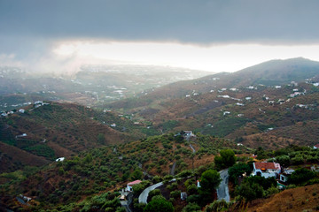 Countryside surrounding the Historic old town of Frigiliana, near Nerja, Costa del Sol, Andalusia, Southern Spain Fotomurales