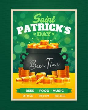 Saint Patricks Day party poster design. Nightclub invitation. Patricks Day flyer, brochure, holiday invitation, corporate celebration Vector illustration