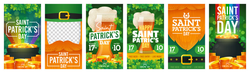 Social Media stories template on theme St. Patricks Day. Set of banners square shape on theme Patricks Day. Design of advertising in social networks. Promotion vector illustration