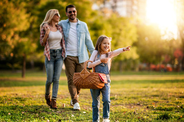 Happy family having picnic in the park Wall mural