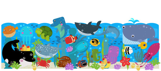 cartoon scene with different sea or ocean animals in the coral reef illustration