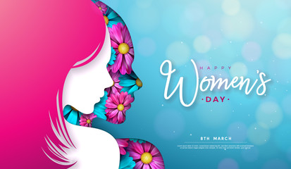 8 March. Women's Day Greeting Card Design with Young Woman Silhouette and Flower. International Female Holiday Illustration with Typography Letter on Blue Background. Vector Calebration Template.
