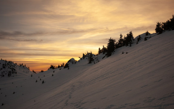 Sunset view from Mount Ciucas on winter