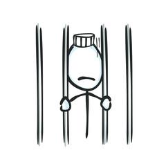 Arrested mane in jail. Sad prisoner. Criminal in jail cell. Hand drawn. Stickman cartoon. Doodle sketch, Vector graphic illustration