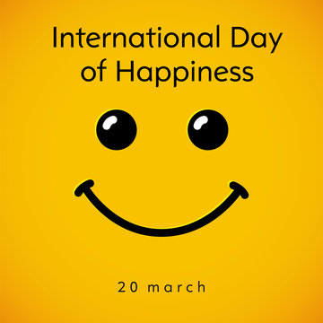 International Day of Happiness smile card. Smile icon in line art style isolated on yellow background. Vector illustration