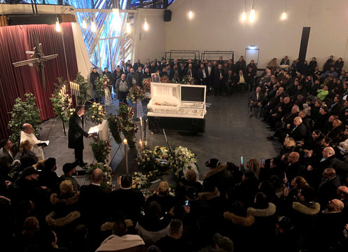 People attend a funeral service for one of the victims of the Hanau shisha bar shootings in Offenbach near Frankfurt