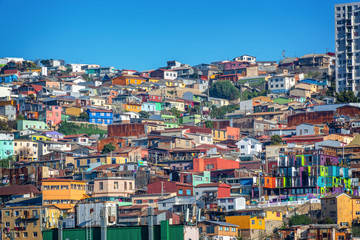Wall Mural - Colorful houses on a hill of Valparaiso, Chile