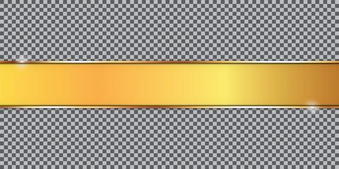 gold ribbon banner on transparent background