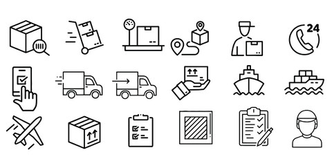 Set of delivery icons , Fast delivery, free delivery, 24 hours, truck