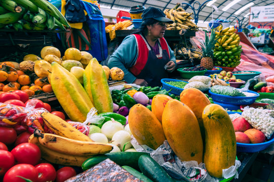 Traditional ecuadorian food market selling agricultural products and other food items in Cuenca, Ecuador, South America.