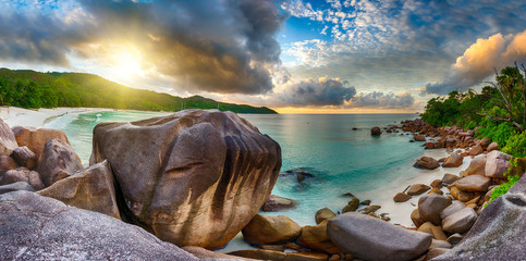 Sunset over Anse Lazio beach in Seychelles