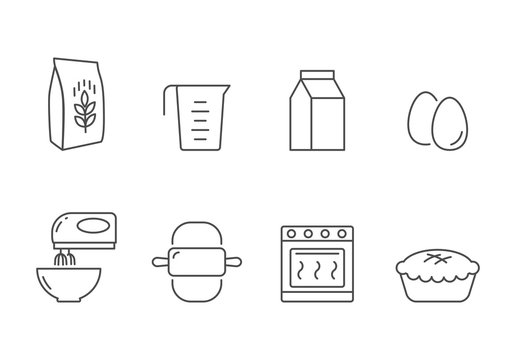 Bakery recipe and ingredients vector icons line style