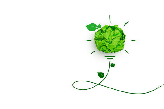 Corporate Social Responsibility (CSR) concept, Green crumpled paper light bulb on white background.