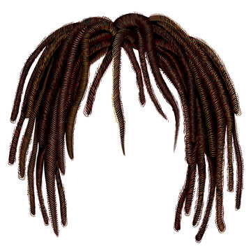 trendy african long  hair dreadlocks .  realistic  3d . fashion beauty style .hairstyle wig